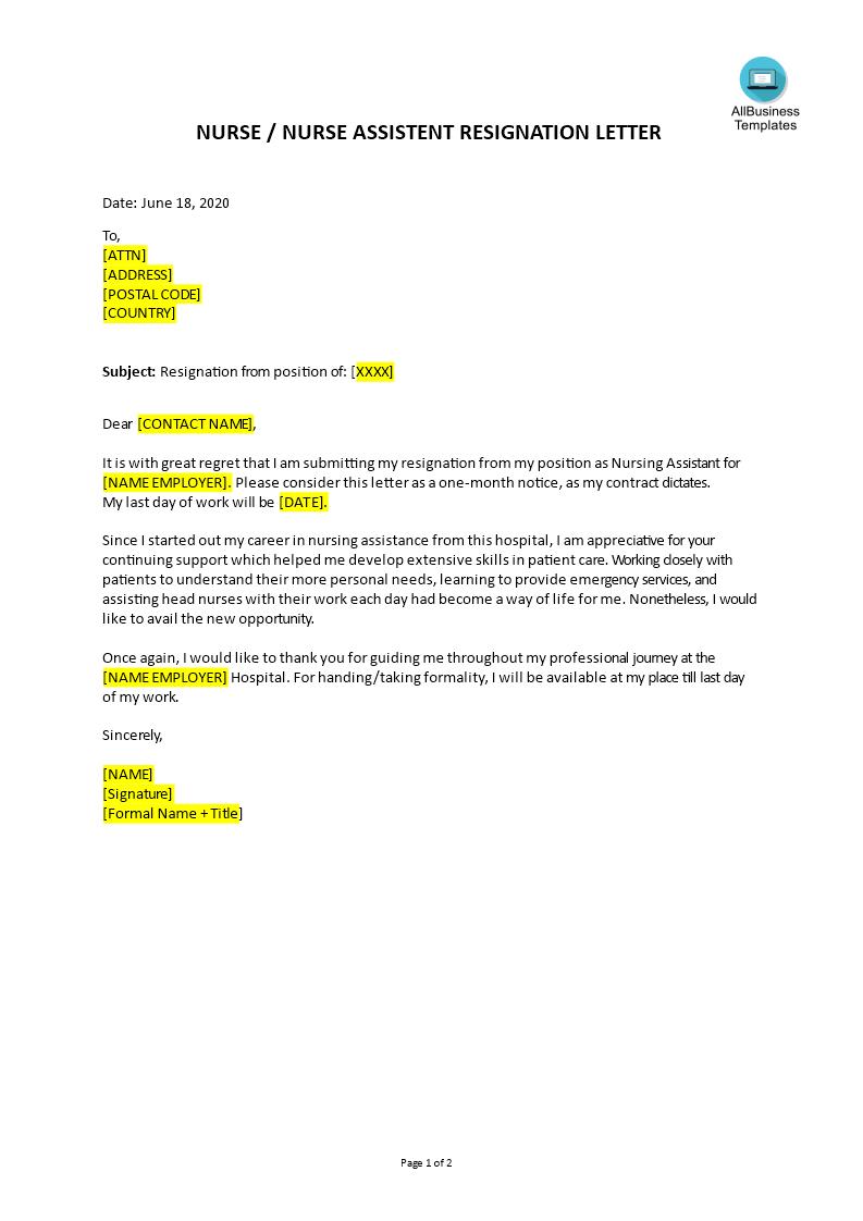 Télécharger Gratuit Nurse Assistant Resignation Letter