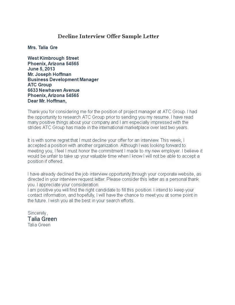 Free Decline Interview Offer Letter Templates at