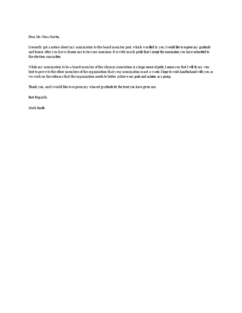nomination letter templates