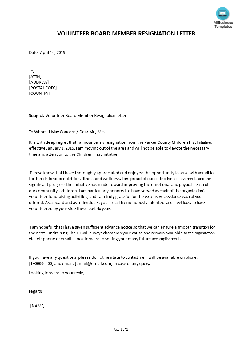 Board Of Directors Resignation Letter Template from www.allbusinesstemplates.com