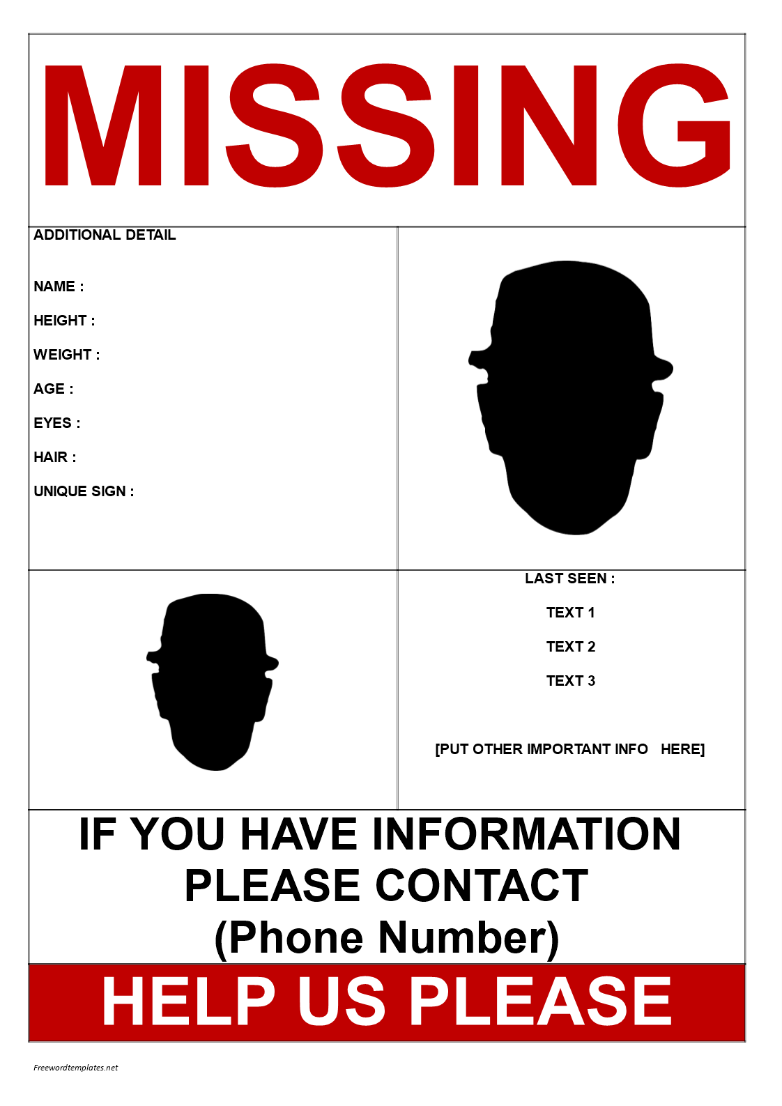 Elegant Missing Person Template 2 Pics A3 Size Main Image  Missing Person Poster Template