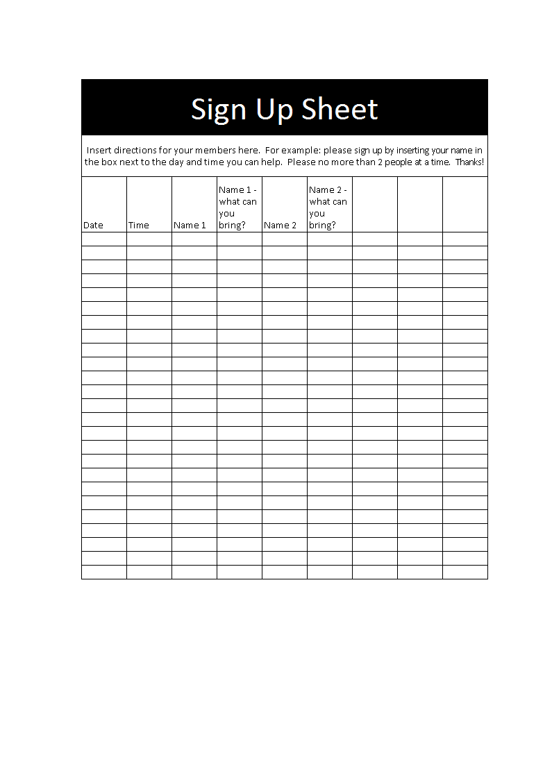 Sign-up Sheet template in excel main image
