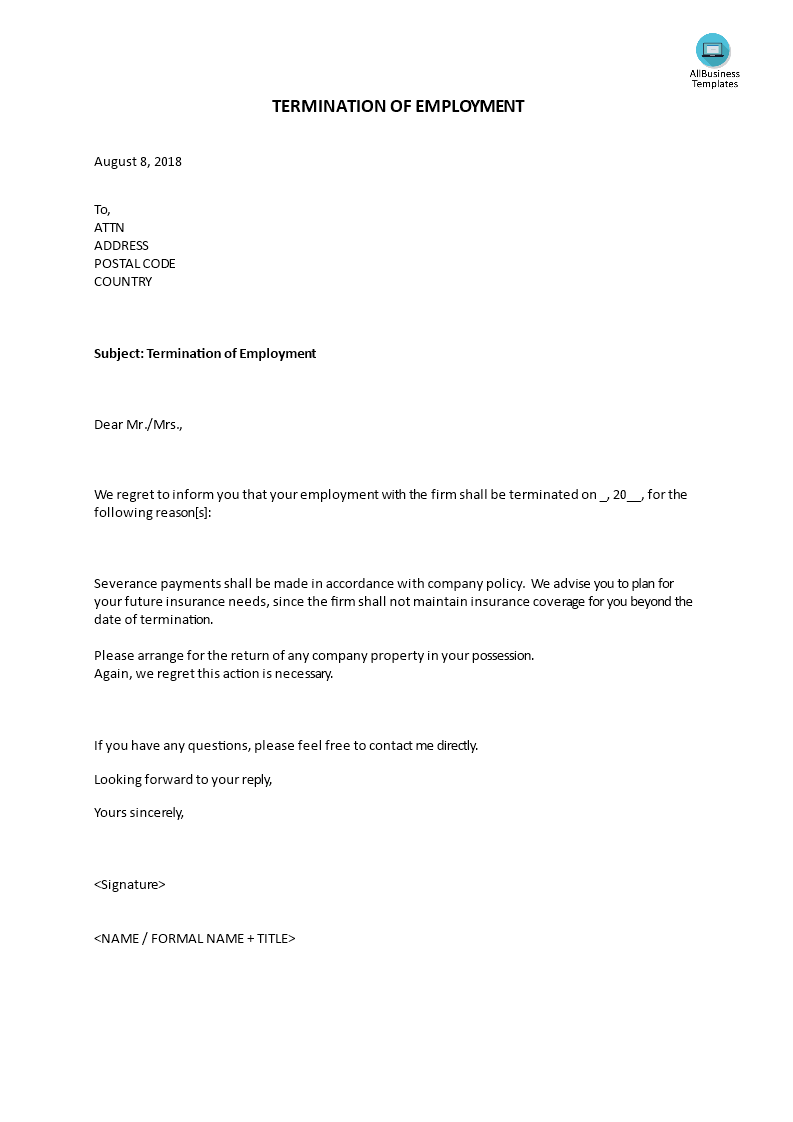 termination of employment letter main image download template