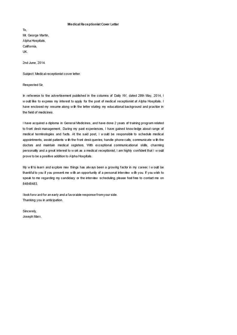 Free Medical Receptionist Cover Letter Templates At
