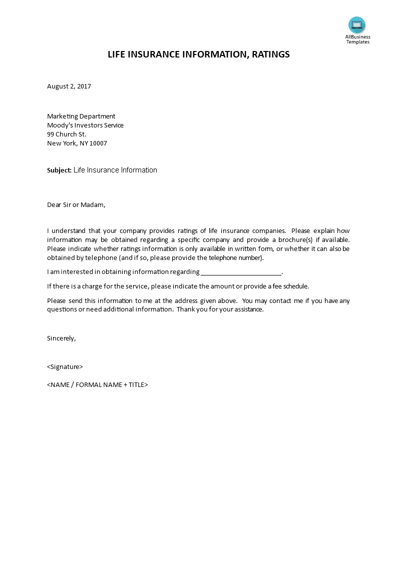 Life Insurance Investor Information Letter | Templates at ...