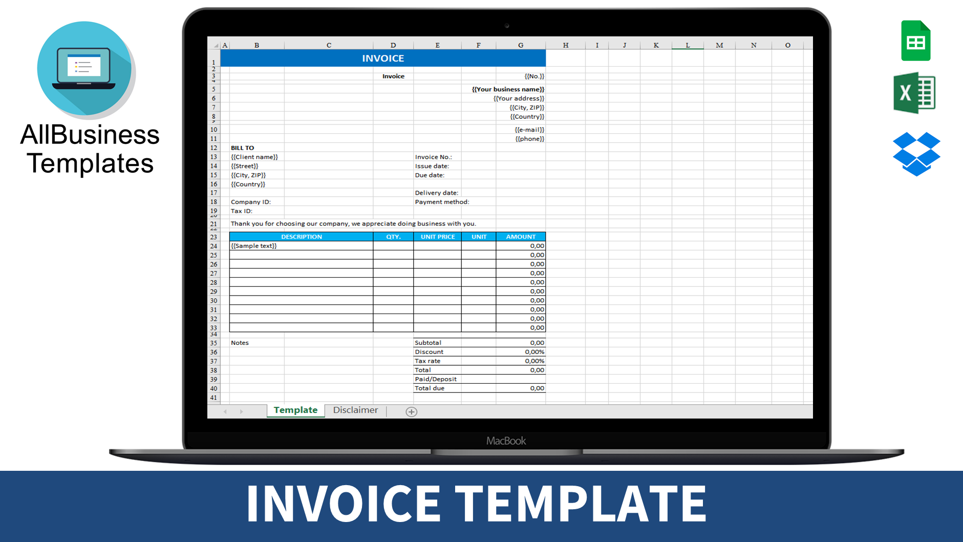 Blank Invoice Template Excel Templates At Allbusinesstemplates Com