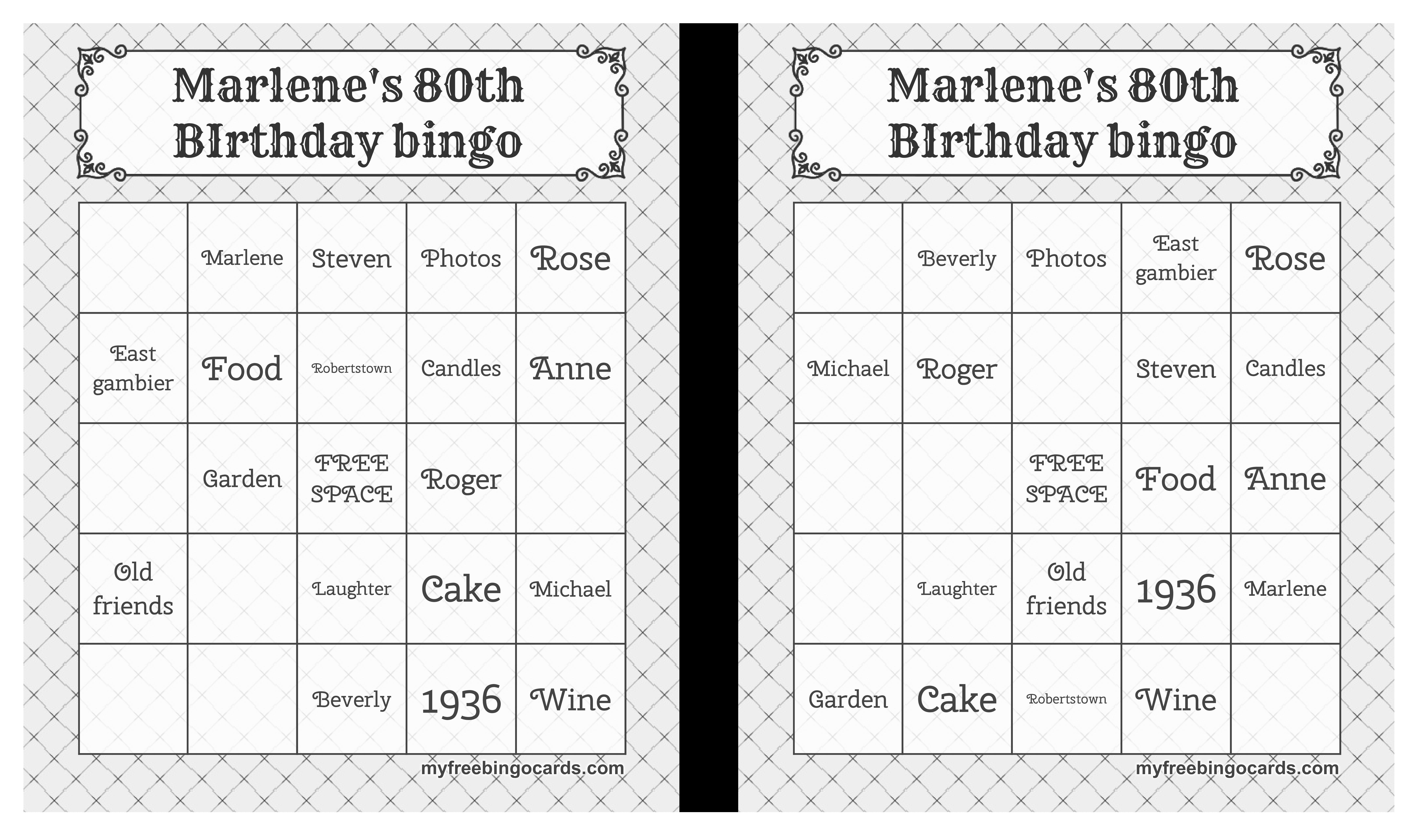 Printable Birthday Bingo Card Main Image Download Template