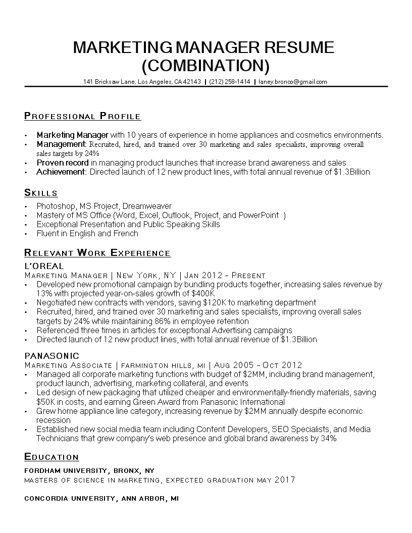 It Marketing Resume Sample Templates At Allbusinesstemplates Com