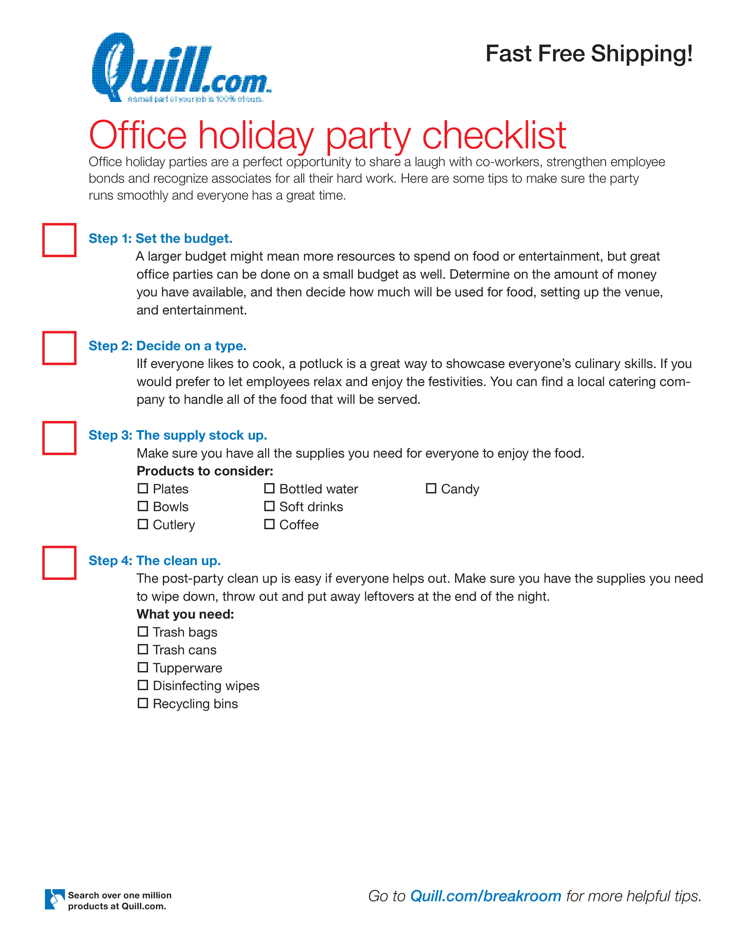 Free Office Holiday Party Checklist Templates At