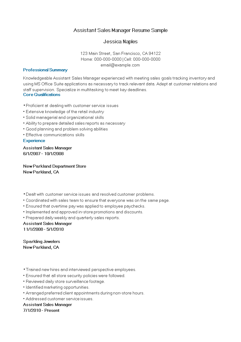 Assistant Sales Manager Resume Sample Templates At