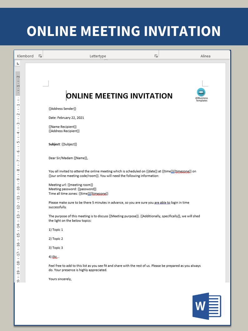 Online Meeting Invitation main image