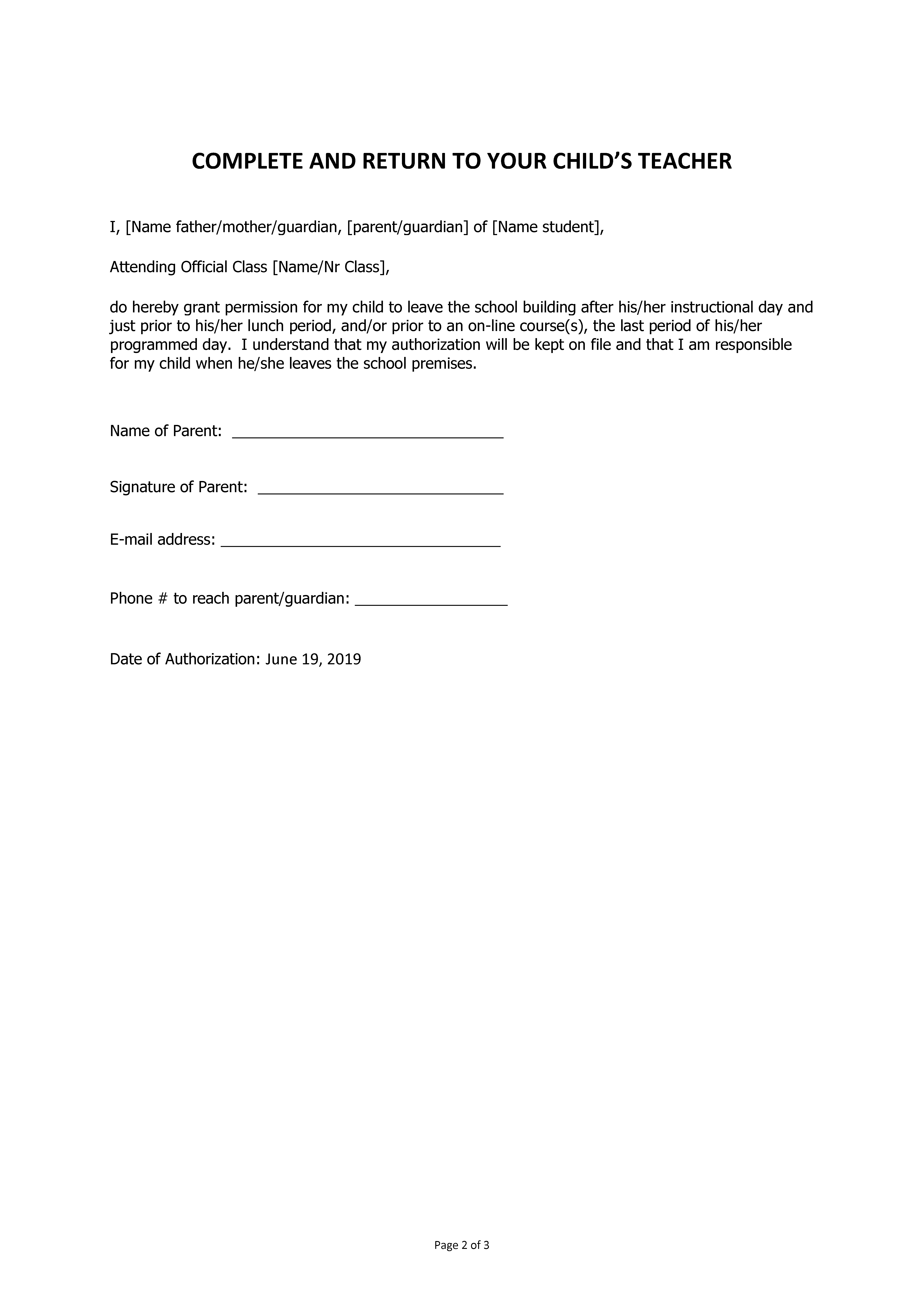 Early leave permission letter by parents to school main image