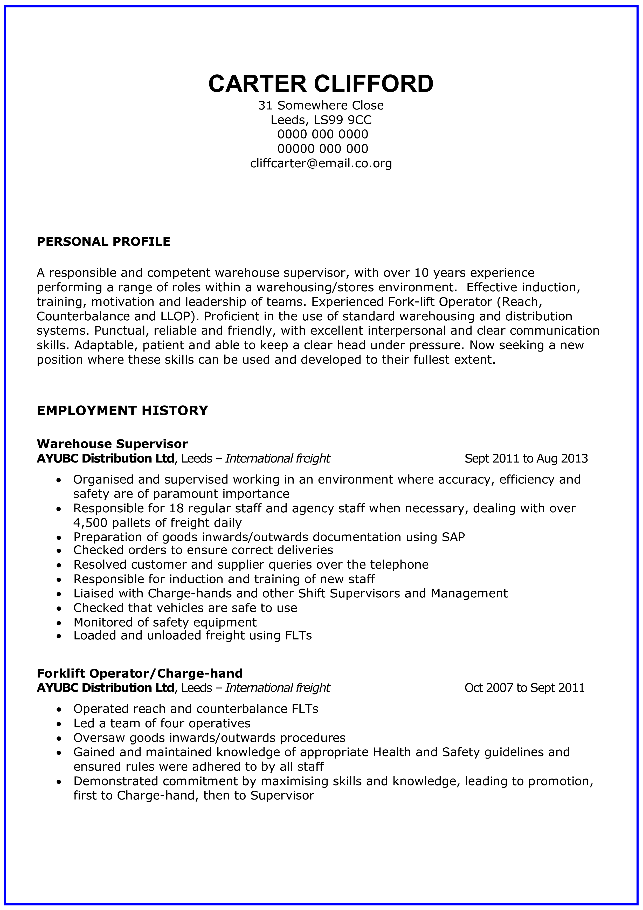 General Warehouse Worker Resume Templates At