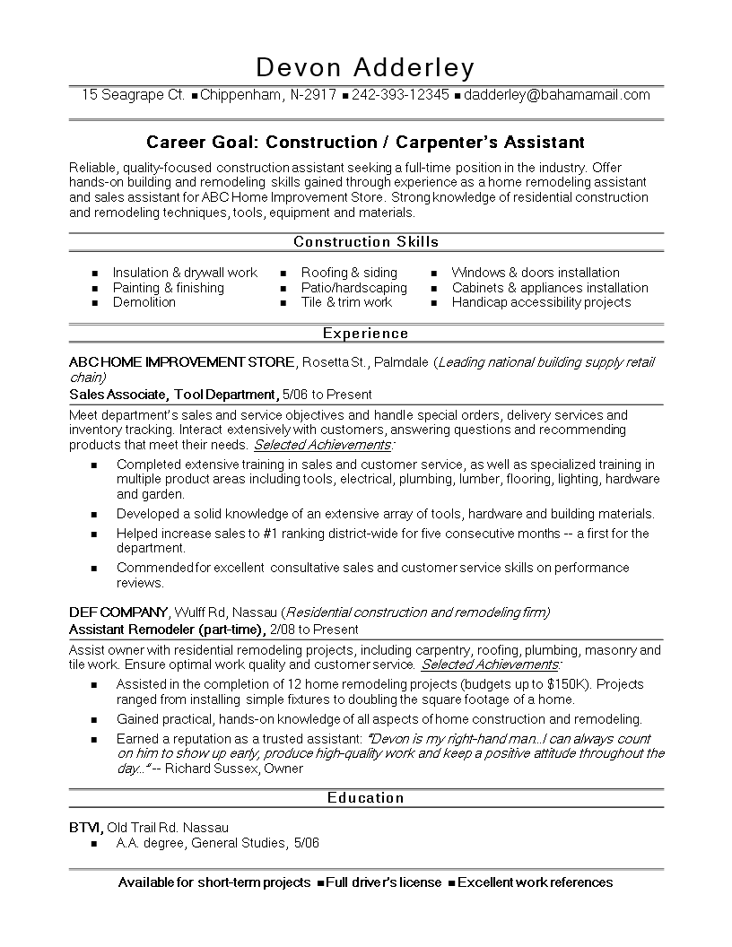 free sample resume for construction worker templates at