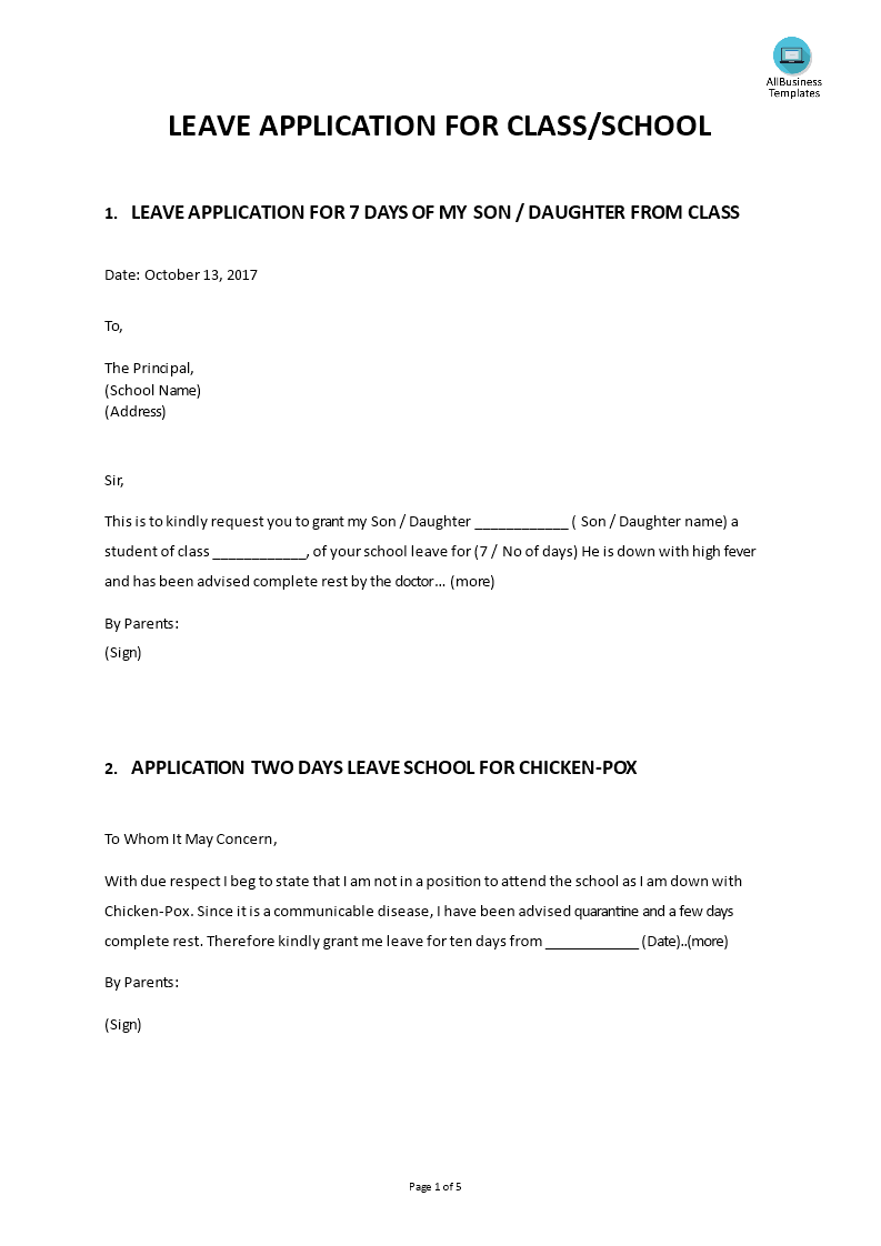 Leave Application Form School Messages Template Main Image  Application For Leave Form