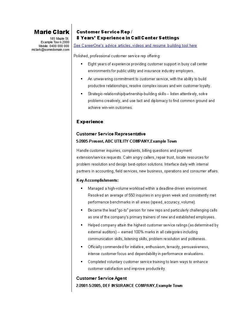 Free Sales Customer Service Representative Resume Templates At