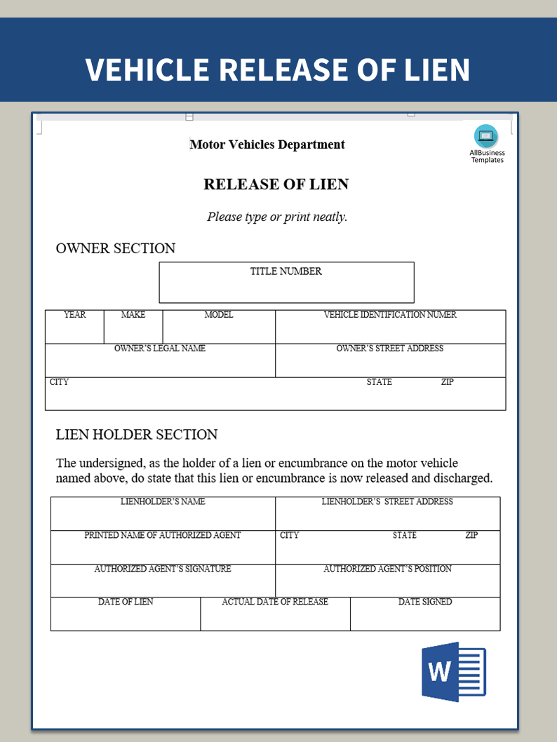 Think, that Vehicle lien release form consider, that