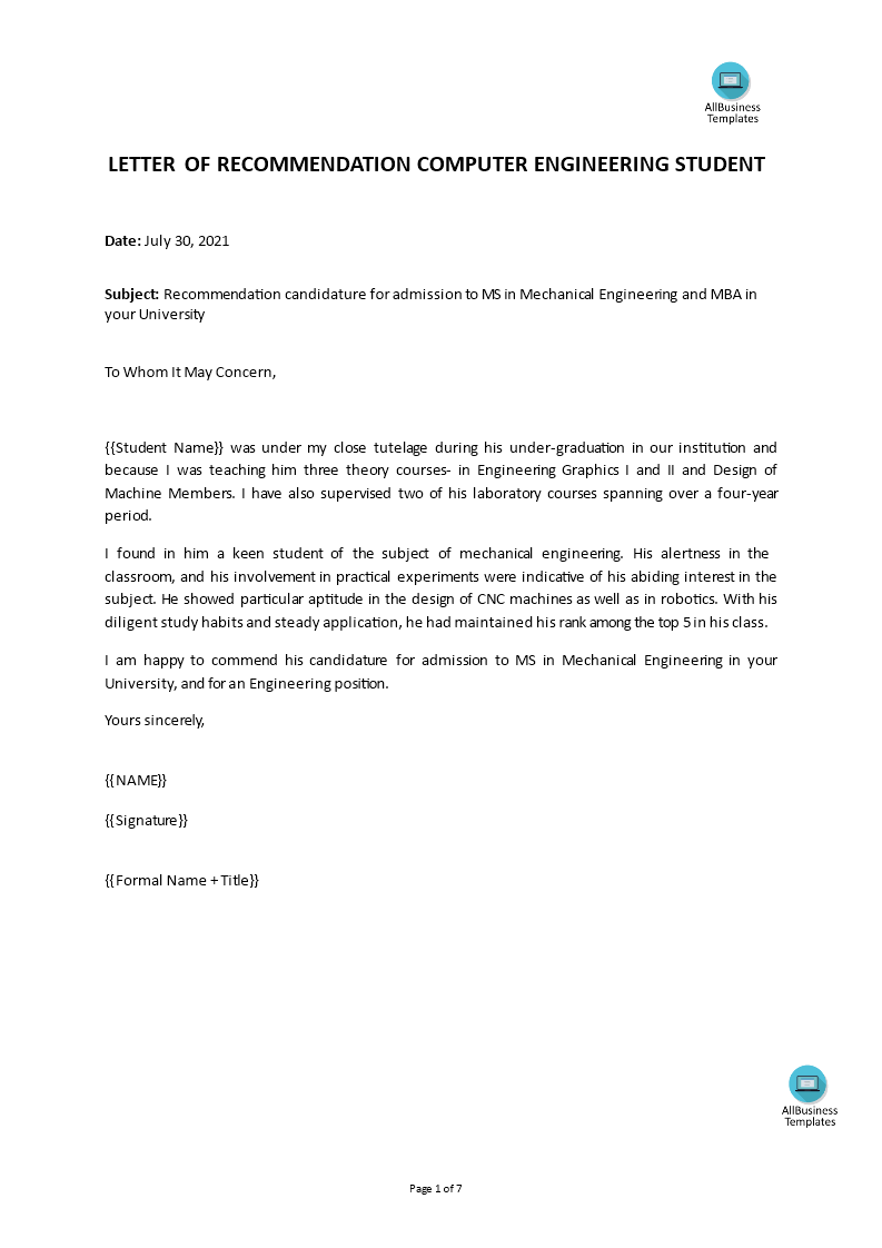 Recommendation Letter For Engineer from www.allbusinesstemplates.com