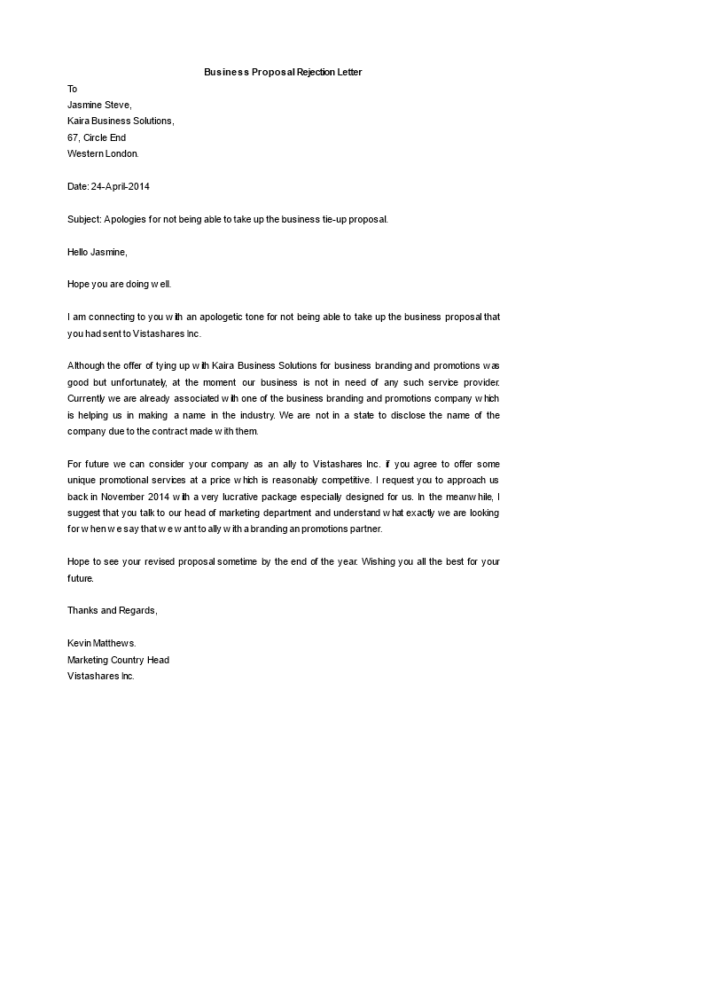 business proposal rejection letter main image download template