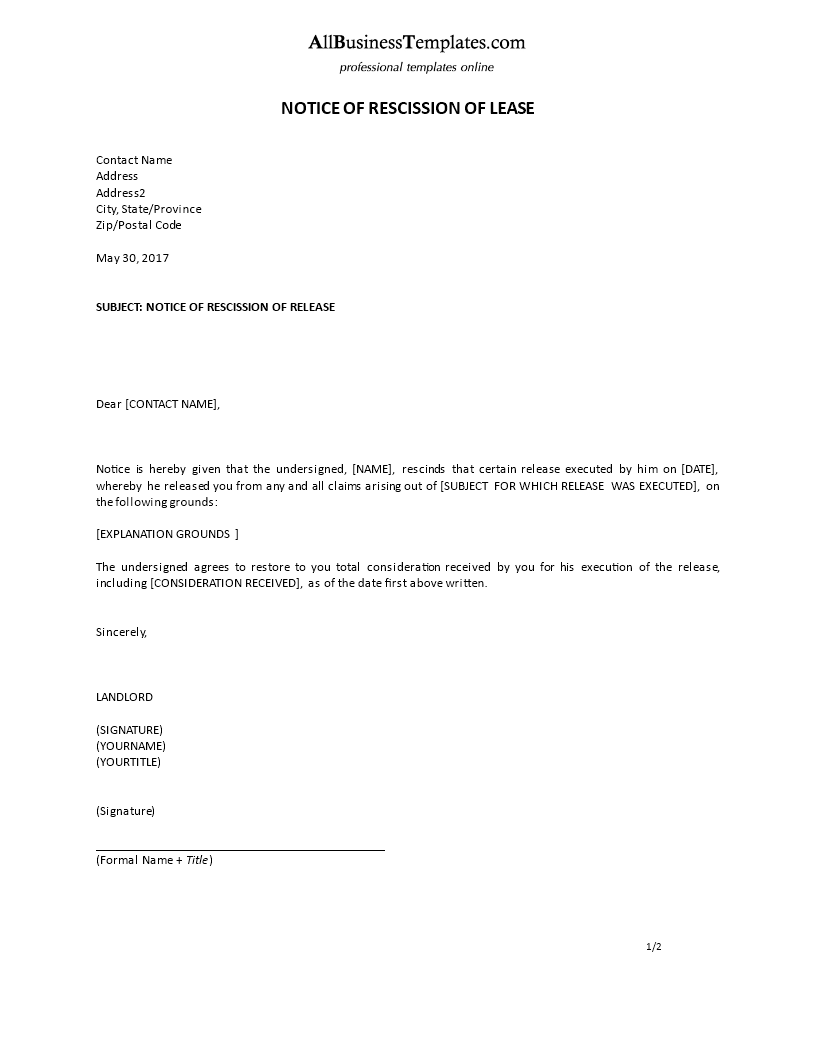 free notice of rescission of lease example formal templates at