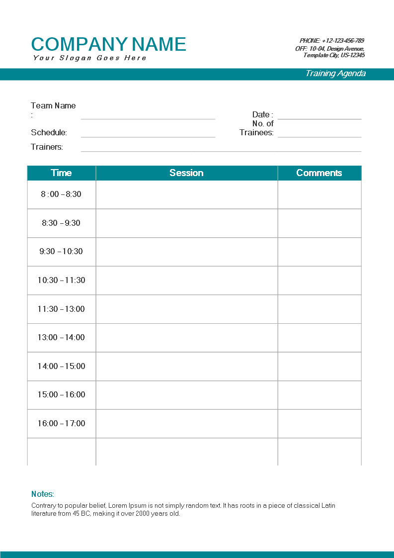 blank training agenda example