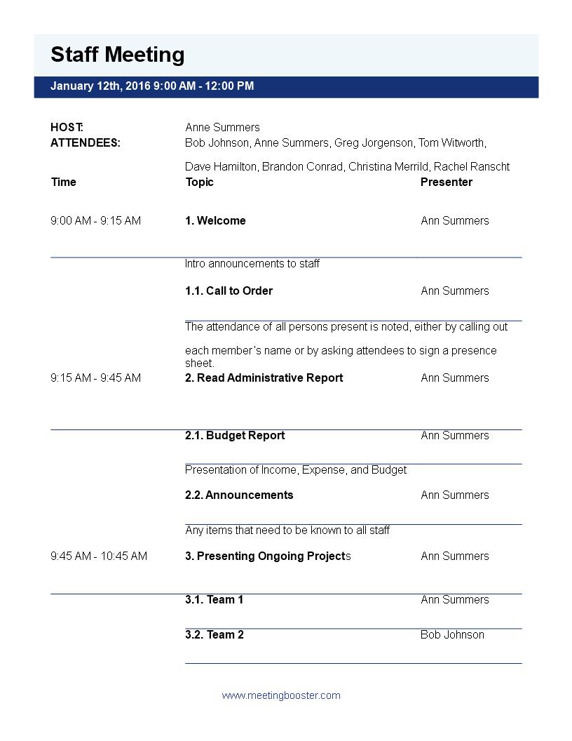 Free Sales Meeting Agenda Templates (Make Meetings ...