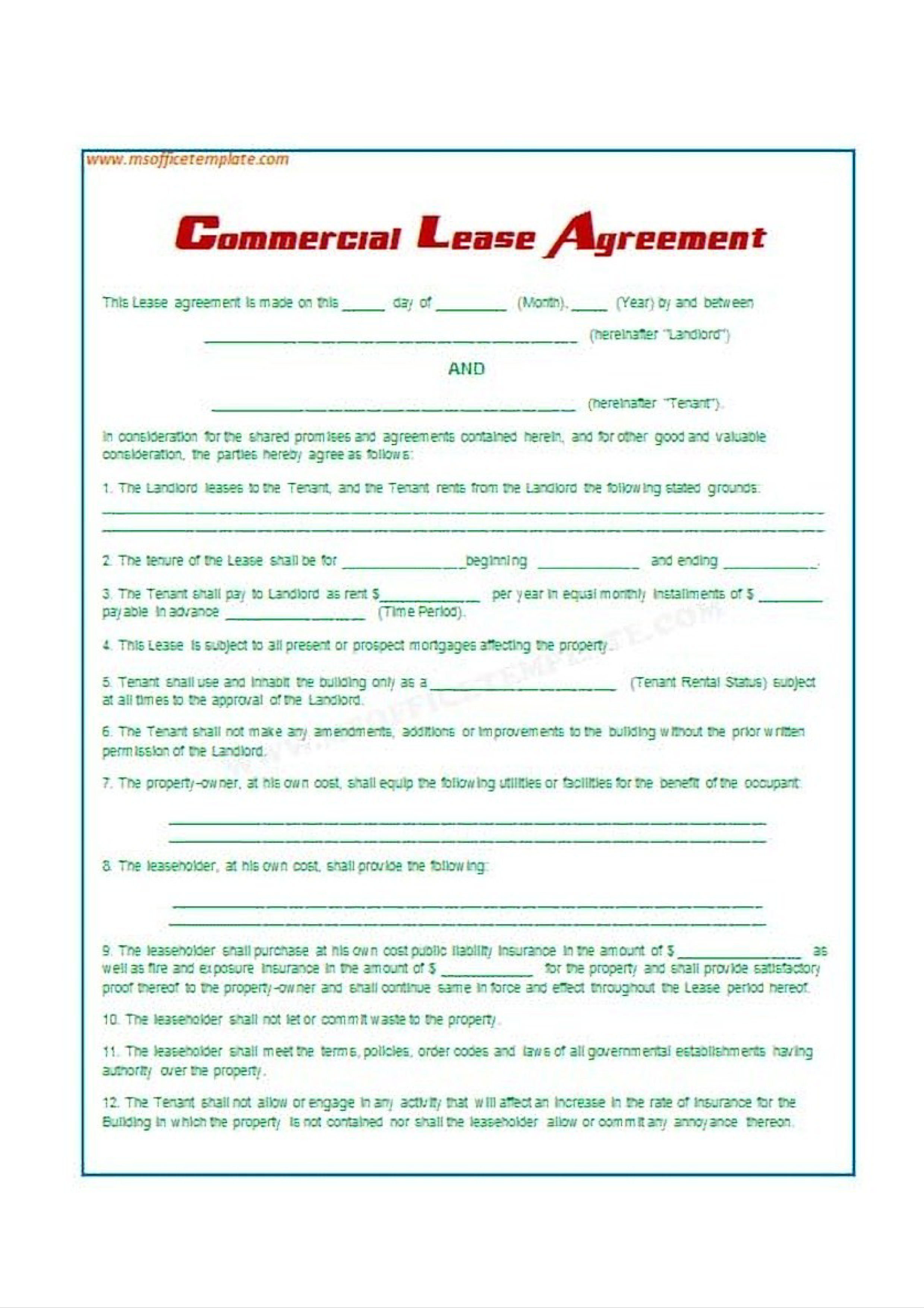 Free Lease Agreements Sample Templates At Allbusinesstemplates