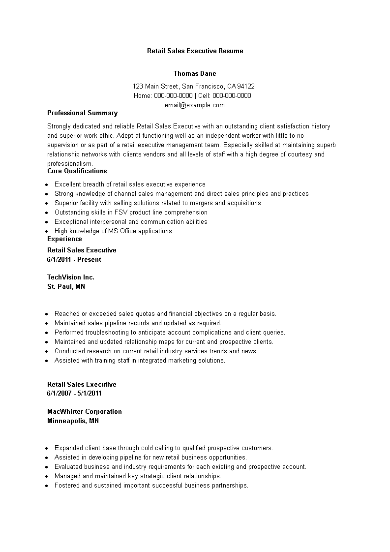retail sales executive resume main image