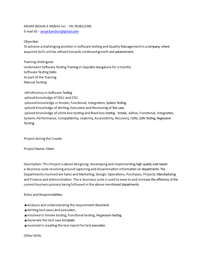 Free Software Manual Testing Resume For Fresher Templates At