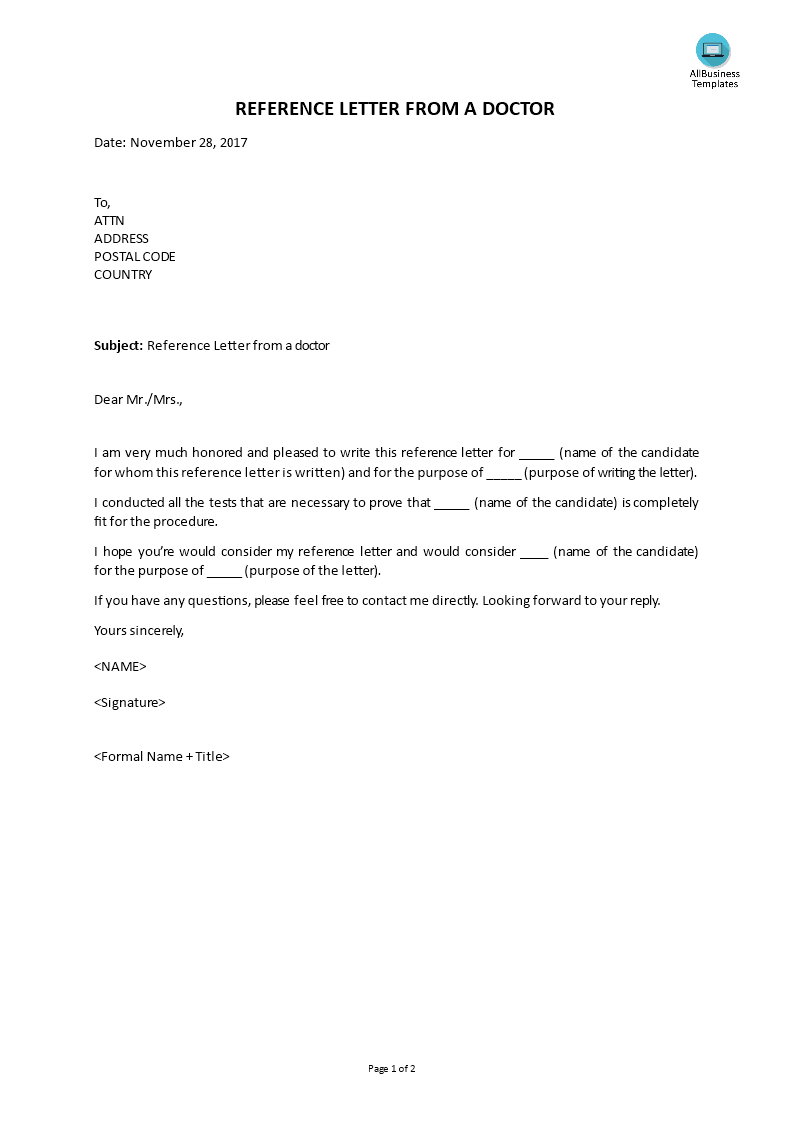 Free Reference Letter From A Doctor Templates At