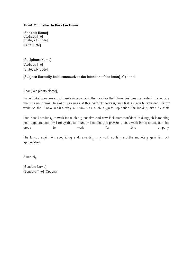 Free Thank You Letter To Boss For Bonus Templates At