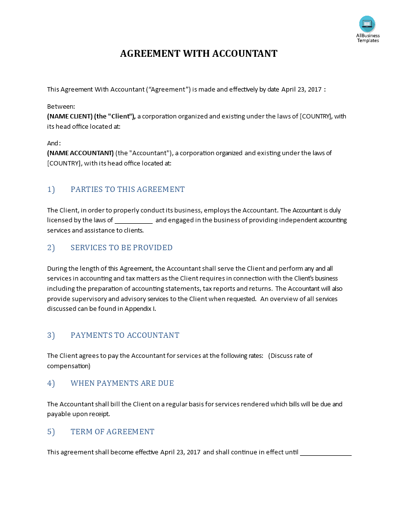 Agreement With Accountant Template main image