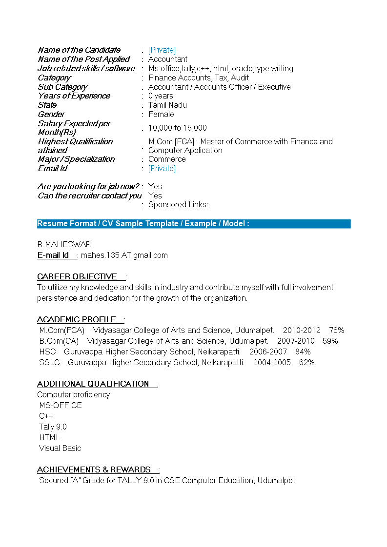 resume format for freshers mcom