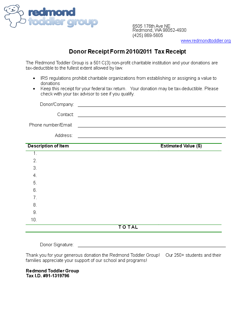 Free Printable Donor Receipt Form | Templates at ...