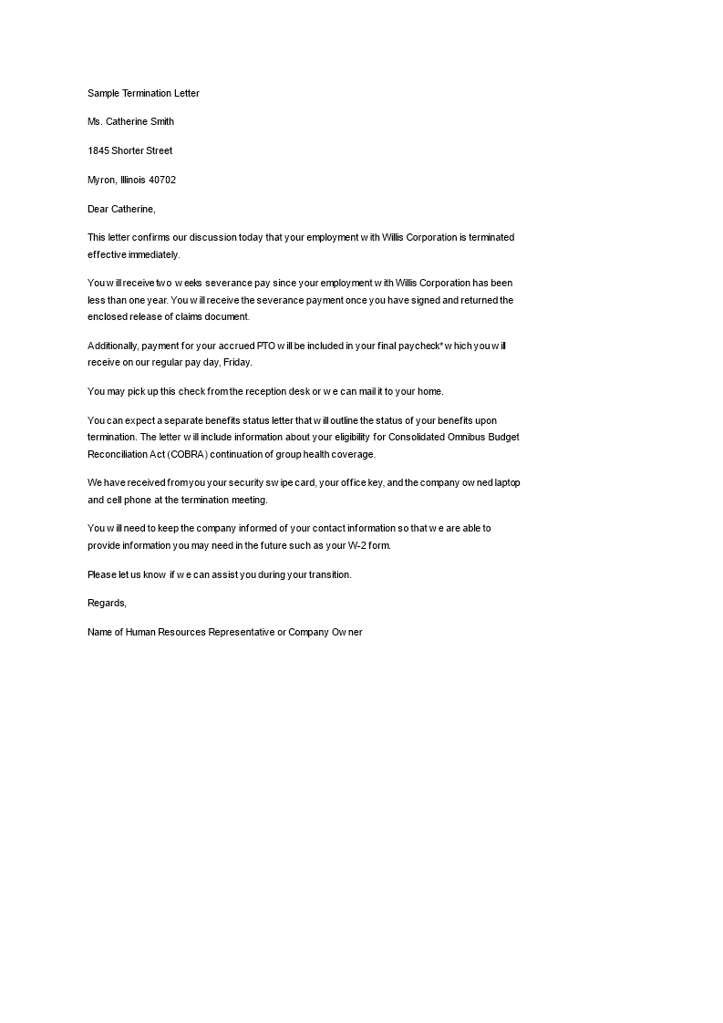 Employee Termination Letter | Free Job Termination Letter To Fire An Employee Templates At