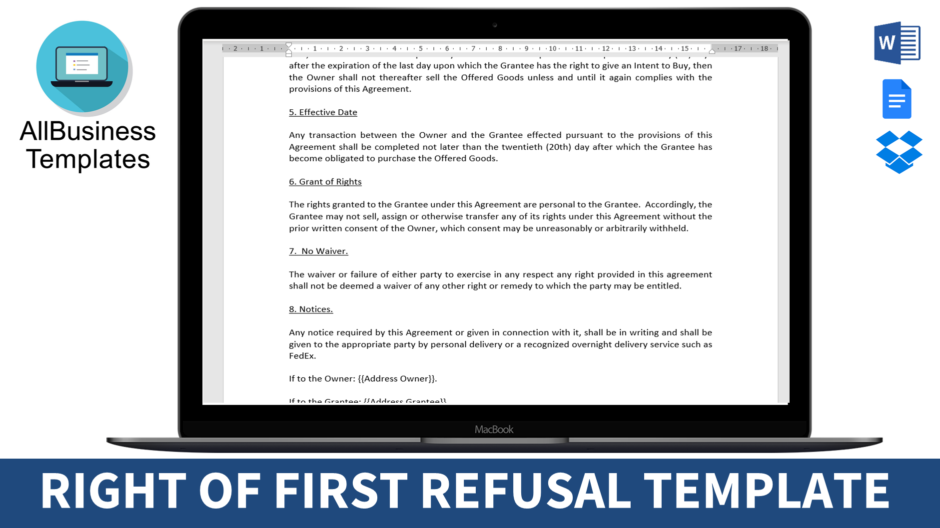 Right Of First Refusal To Purchase Templates At