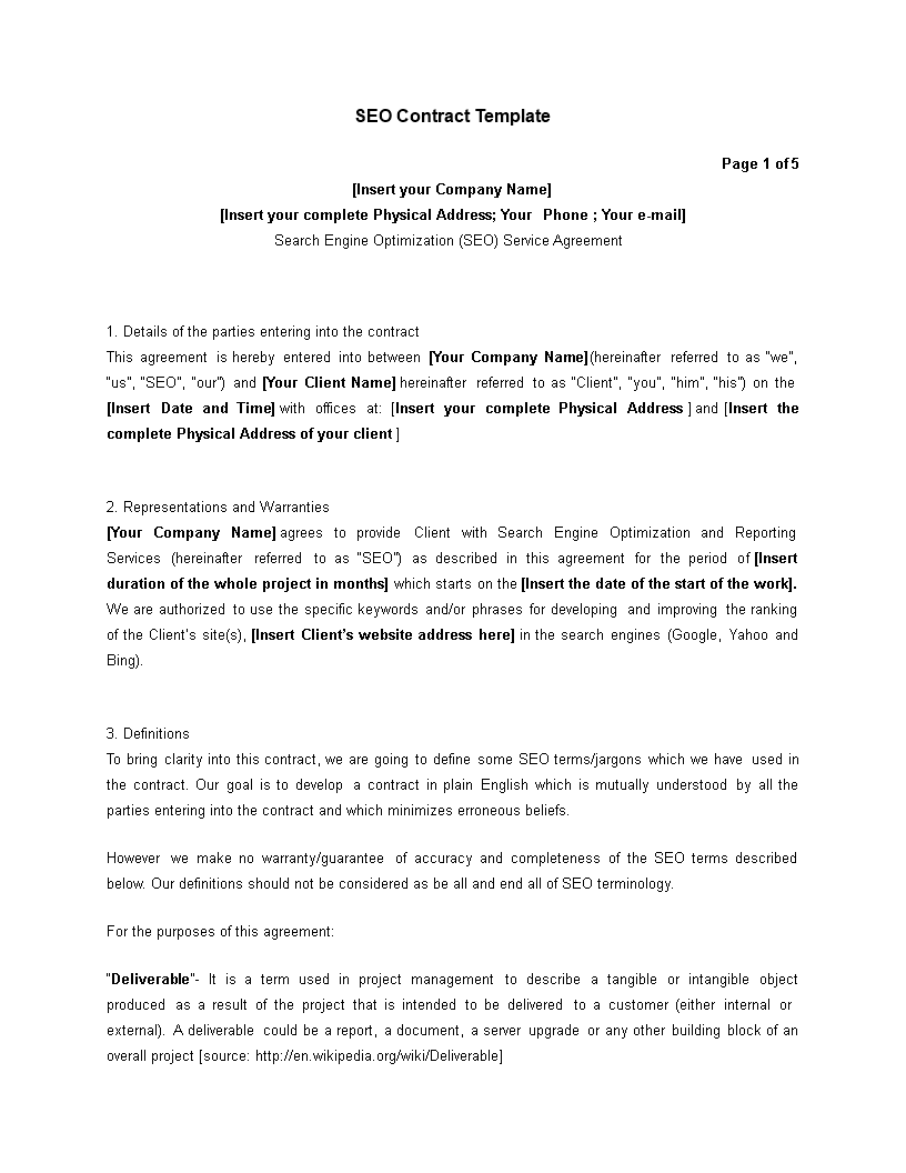 Free Editable Sample Seo Contract Templates At