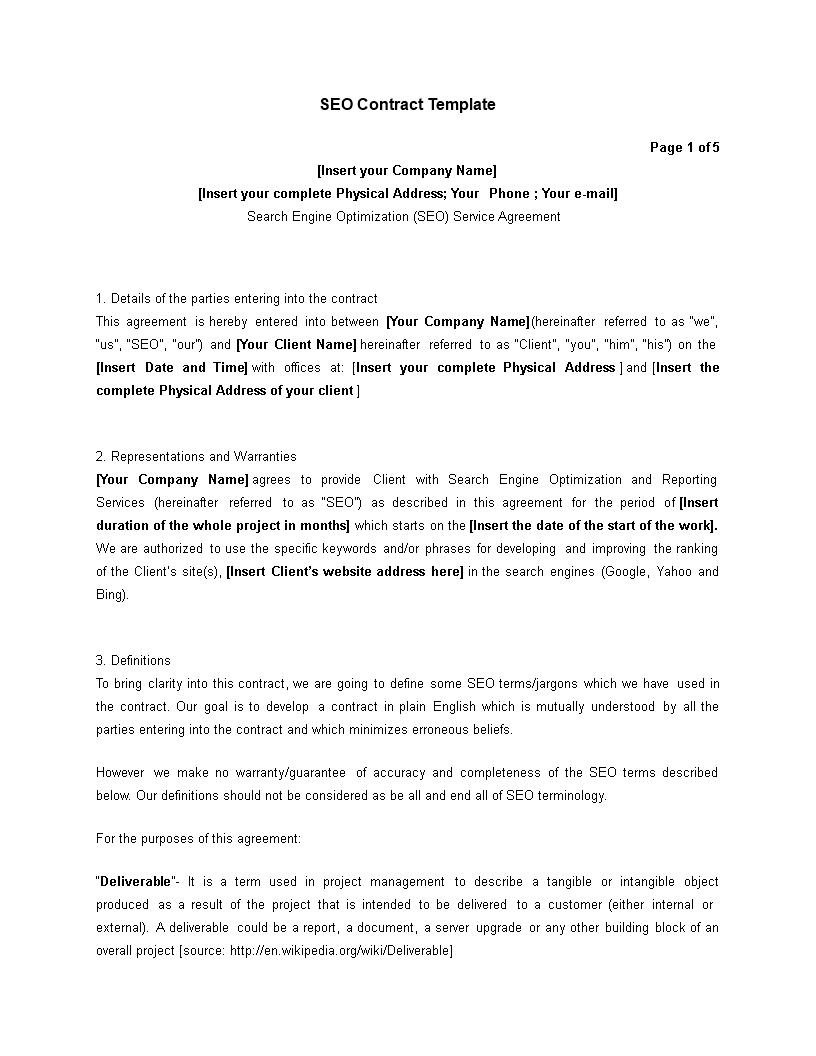 Great Editable Sample SEO Contract Main Image
