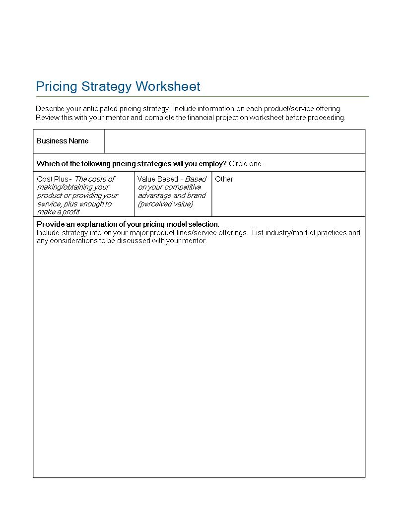free pricing strategy worksheet templates at. Black Bedroom Furniture Sets. Home Design Ideas