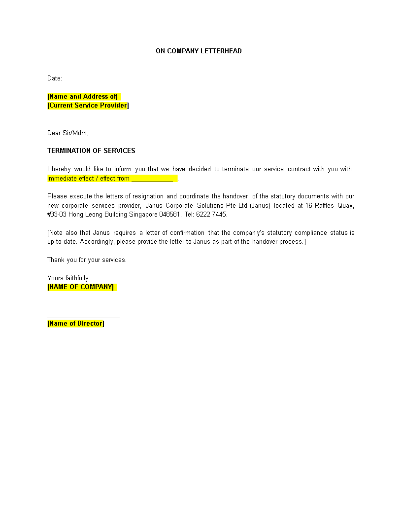 daycare termination letter templates 10 free sample example