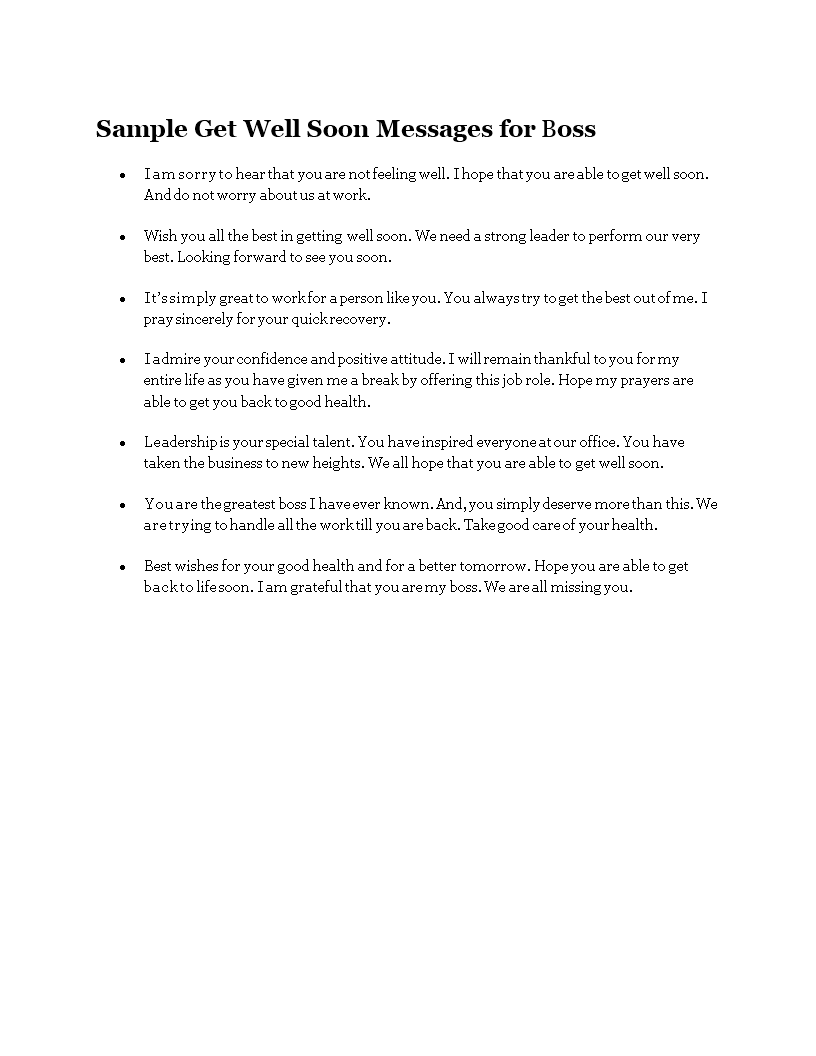 free sample get well soon messages for boss templates at