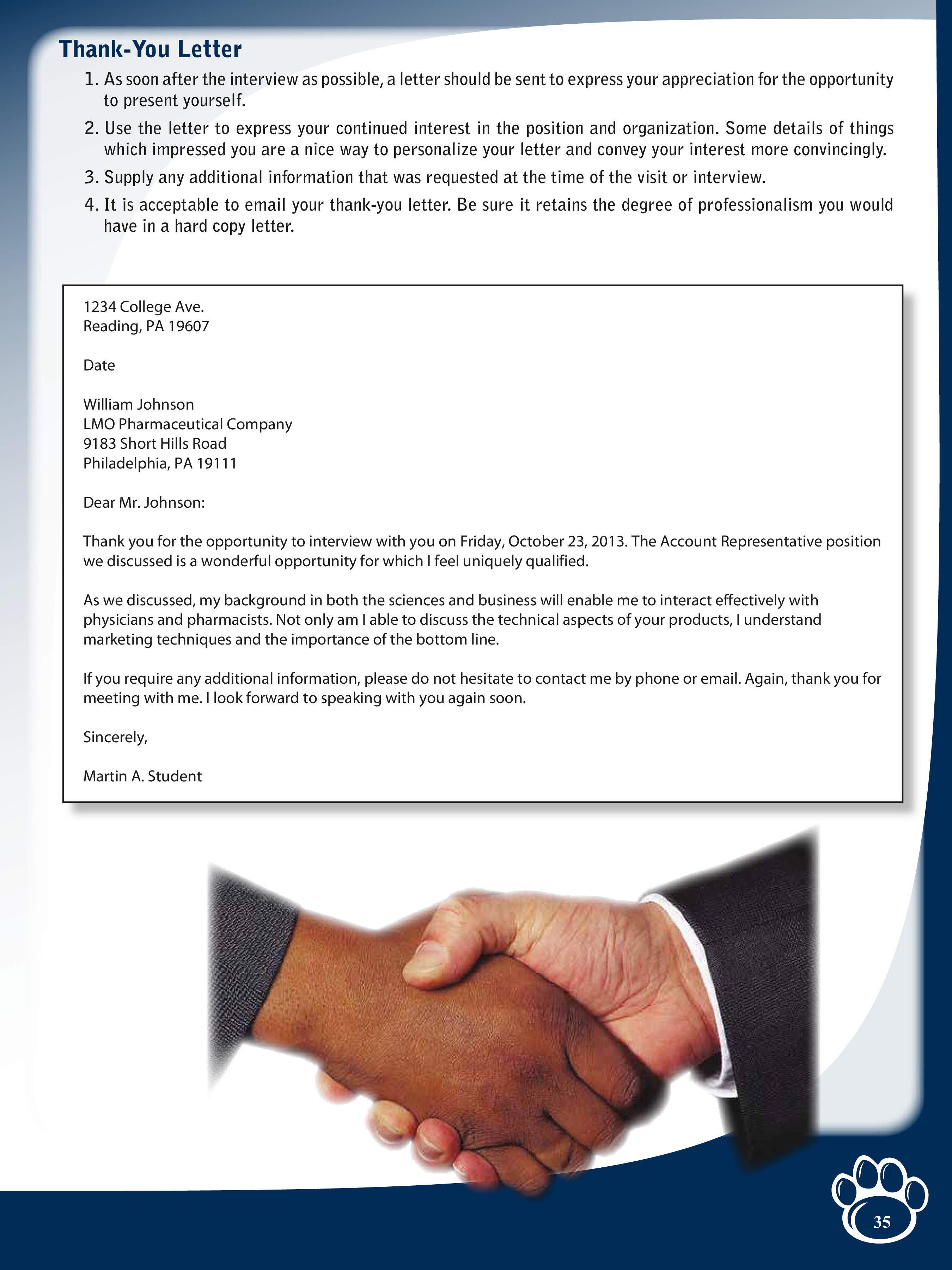 free post account representative interview thank you letter