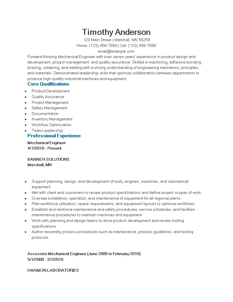 Free Professional Mechanical Engineering Resume | Templates at ...