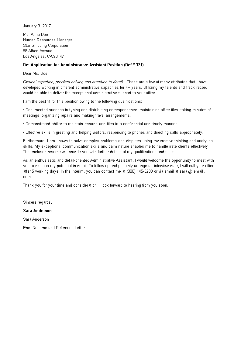 Free Job Application Letter For Administrative Assistant Templates