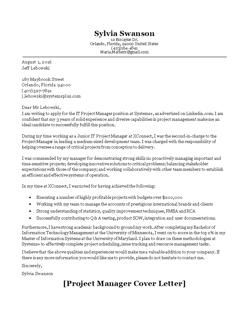IT Project Manager Application Letter template main image