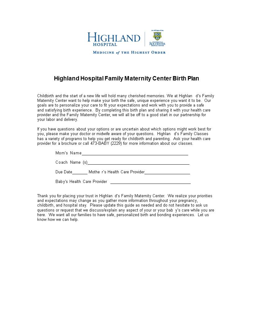 Hospital Birth Plan | Templates at allbusinesstemplates.com