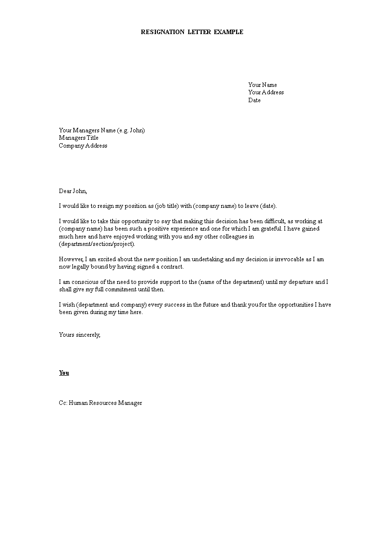 free contractor resignation letter templates at
