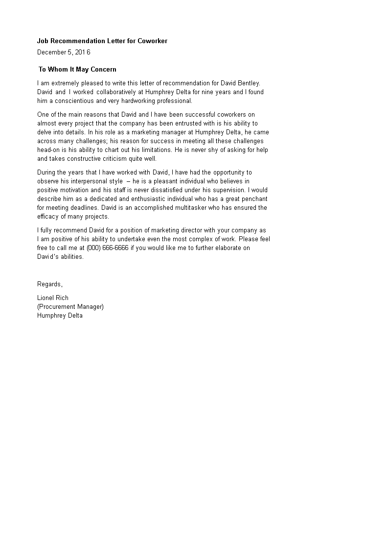 Recommendation Letter For Coworker Pdf from www.allbusinesstemplates.com