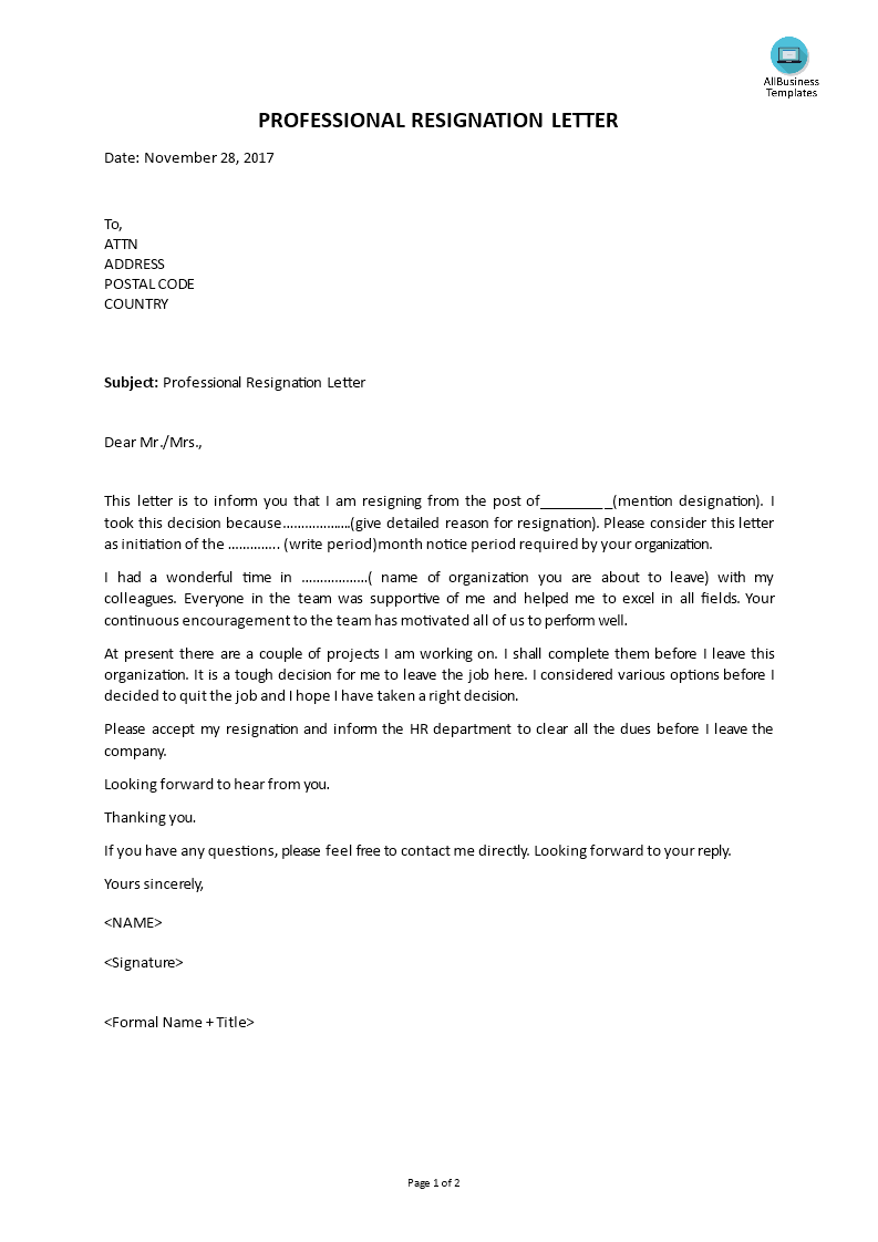 Professional Resignation Letter at Company | Templates at ...