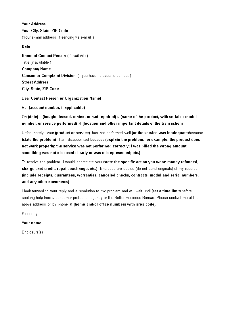 Free Formal Complaint Letter Sample | Templates at ...